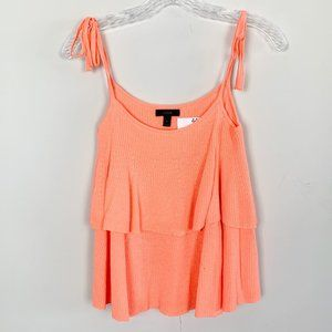 J.Crew | coral tiered tie sleeve tank top small